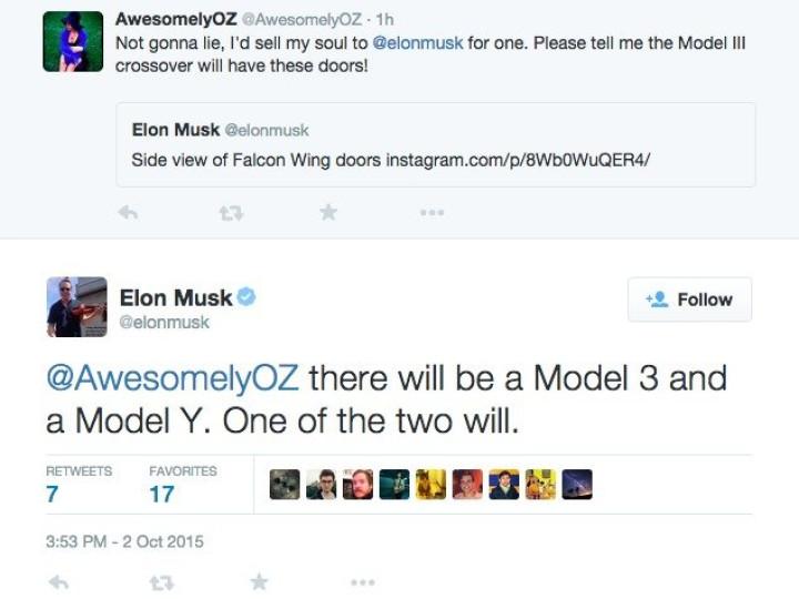 Elon Musk Tesla Model Y tweets