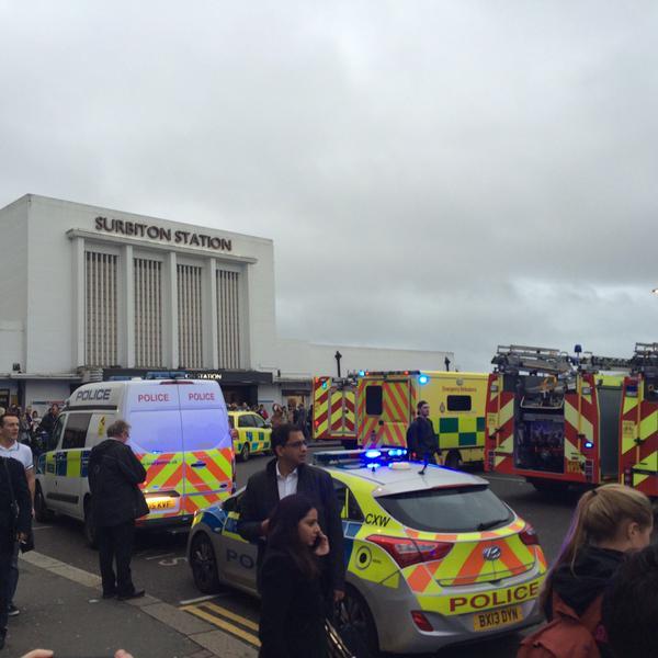 Emergency services outside Surbiton station
