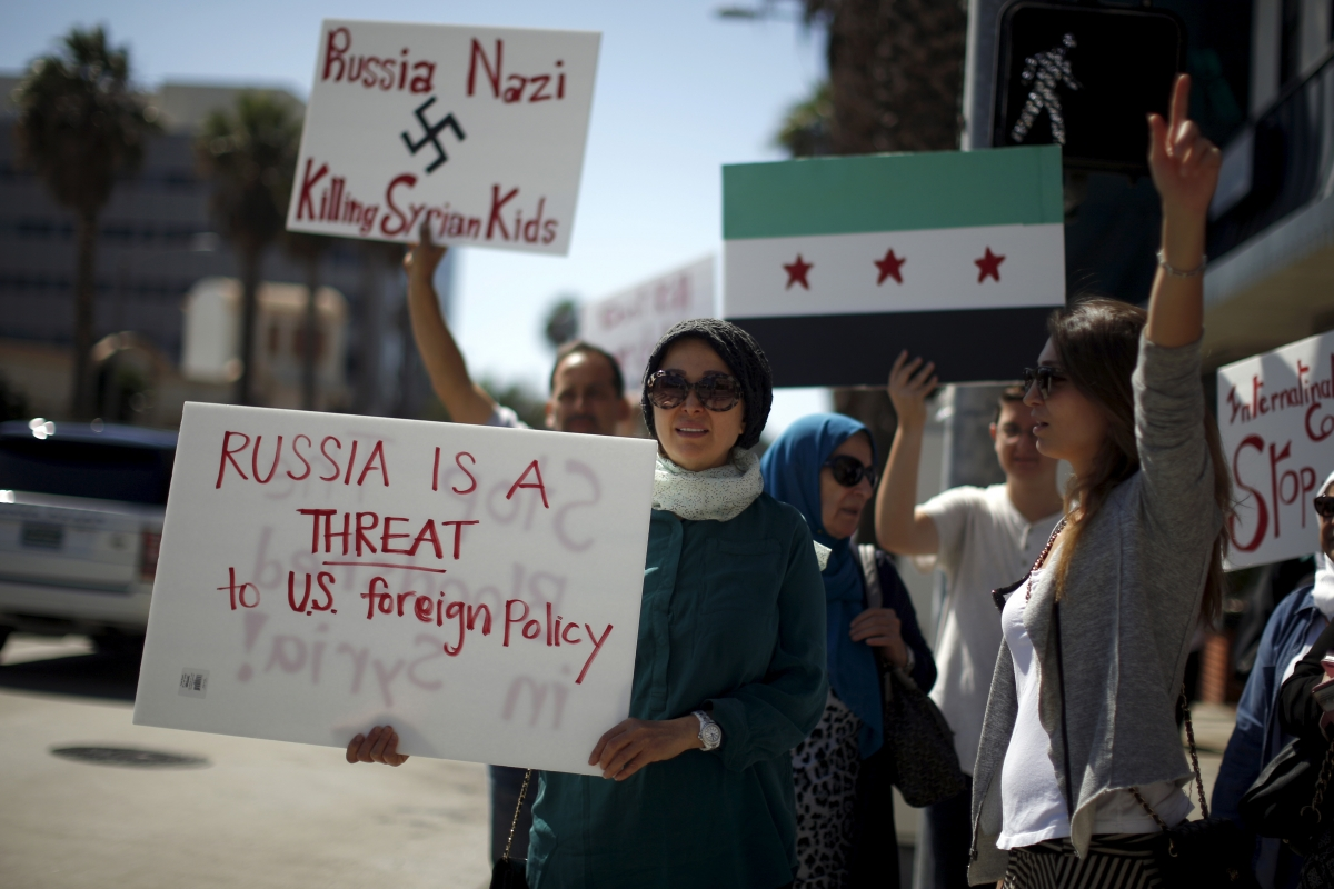 Russia Syria protests 2015