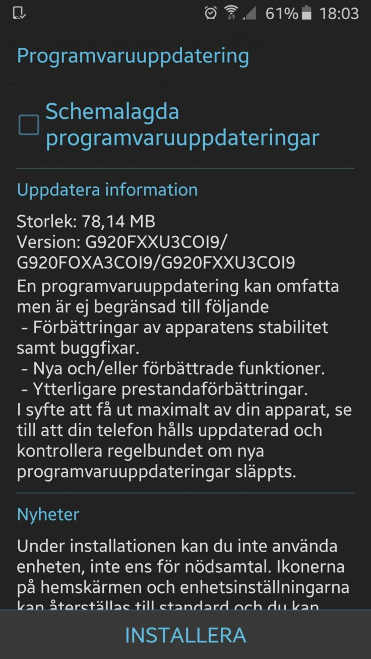 New Galaxy S6 update: G920FXXU3COI9