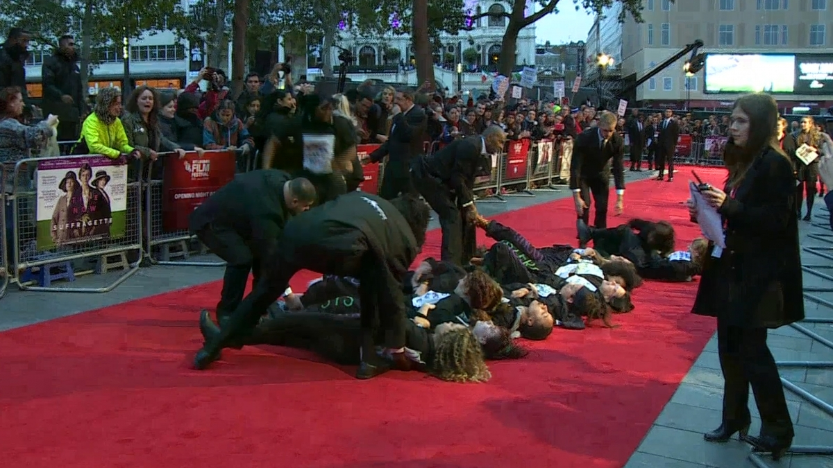 London Film Festival Feminist Protesters Storm