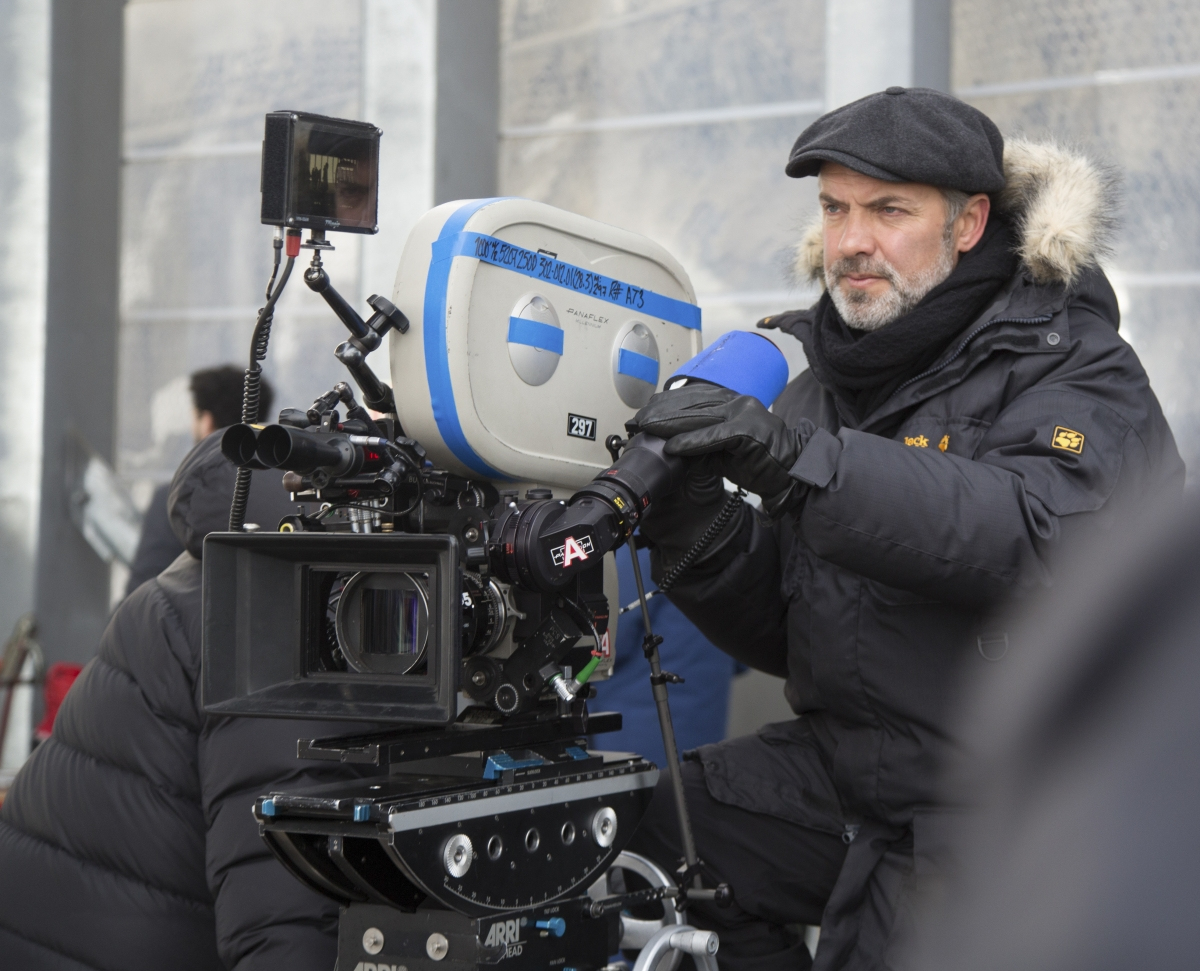 Sam Mendes on the set of Spectre