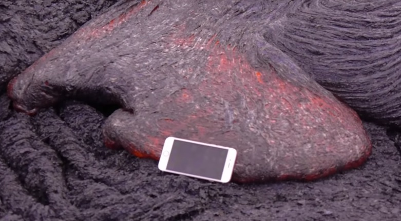 iphone vs the volcano  watch what happens when you drop an