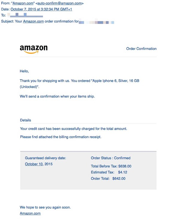 Beware the fake Amazon iPhone 6 order email that comes loaded with ...