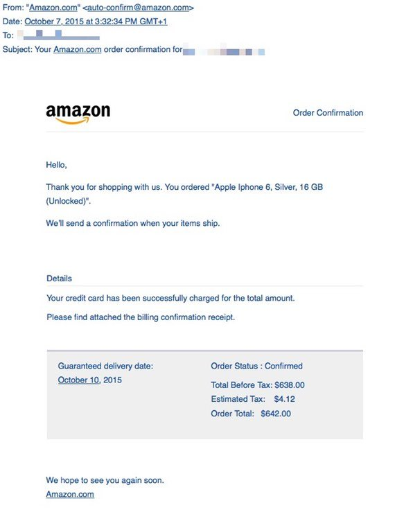 Amazon spam email with malware attachment