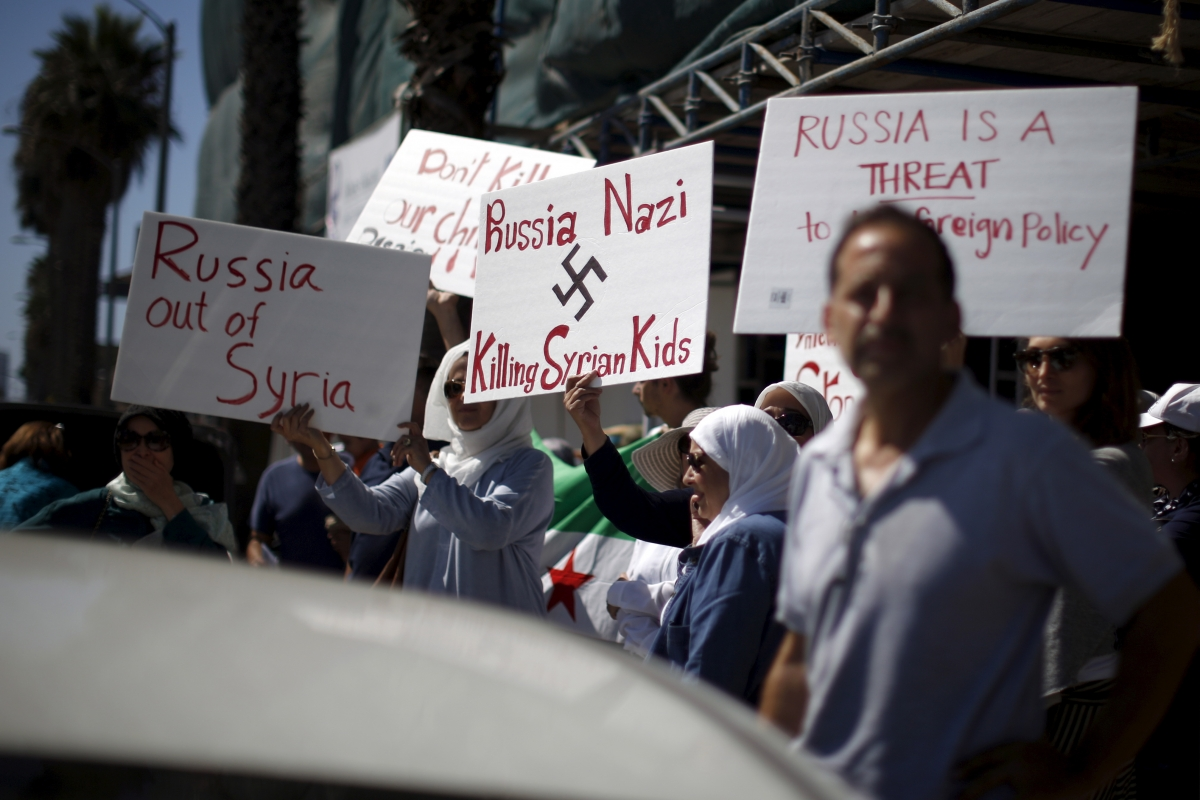 Syrian Americans protest outside Russian consulate