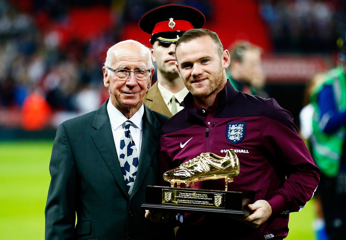 Wayne Rooney and Sir Bobby Charlton