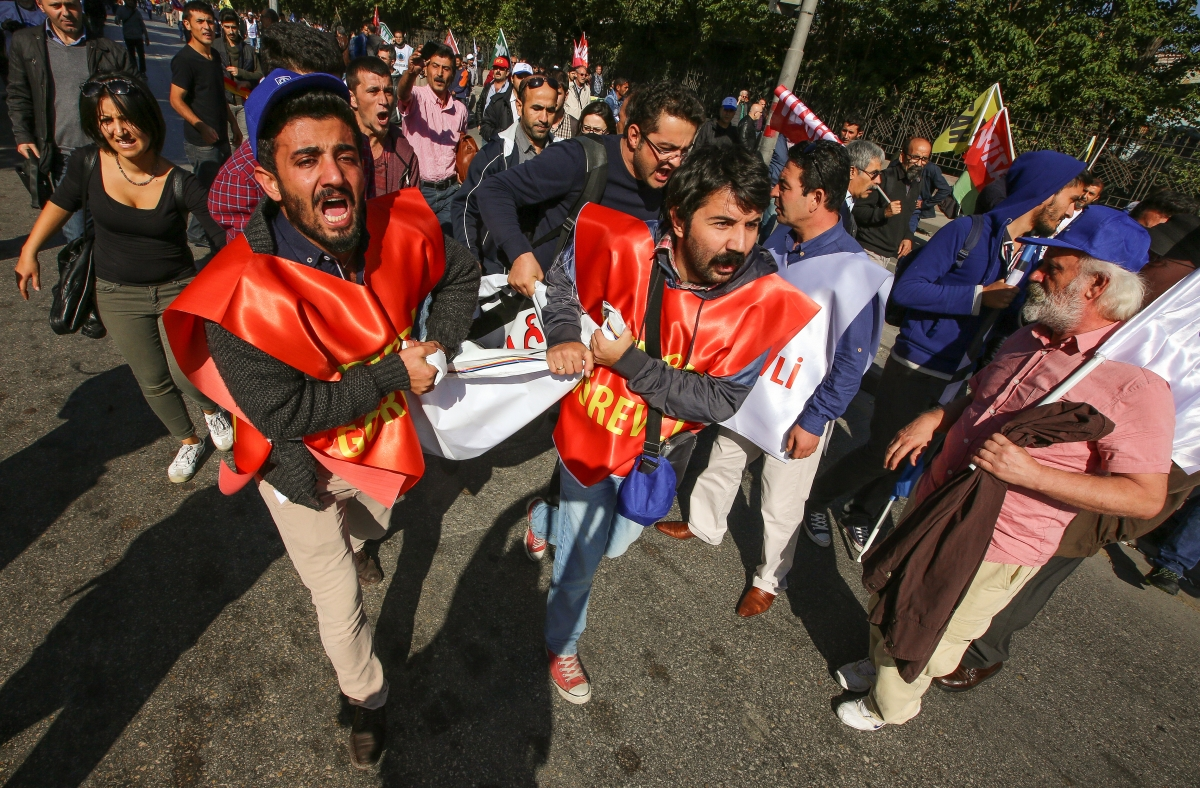 man carried after Ankara blast
