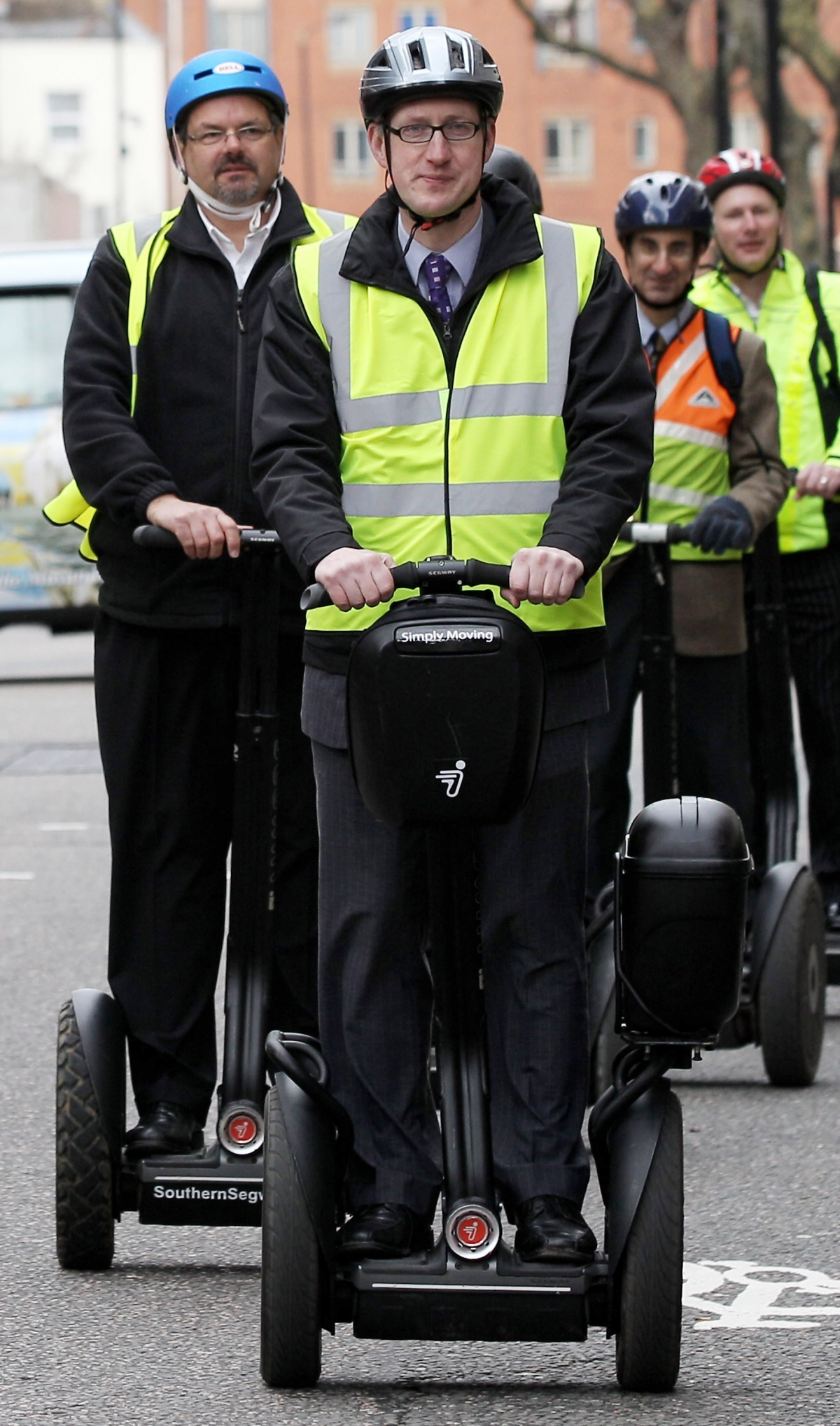 Lembit Opik leads the Segways protest