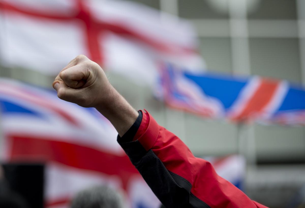 A demonstrator raises his fist at afar-rightdemoin