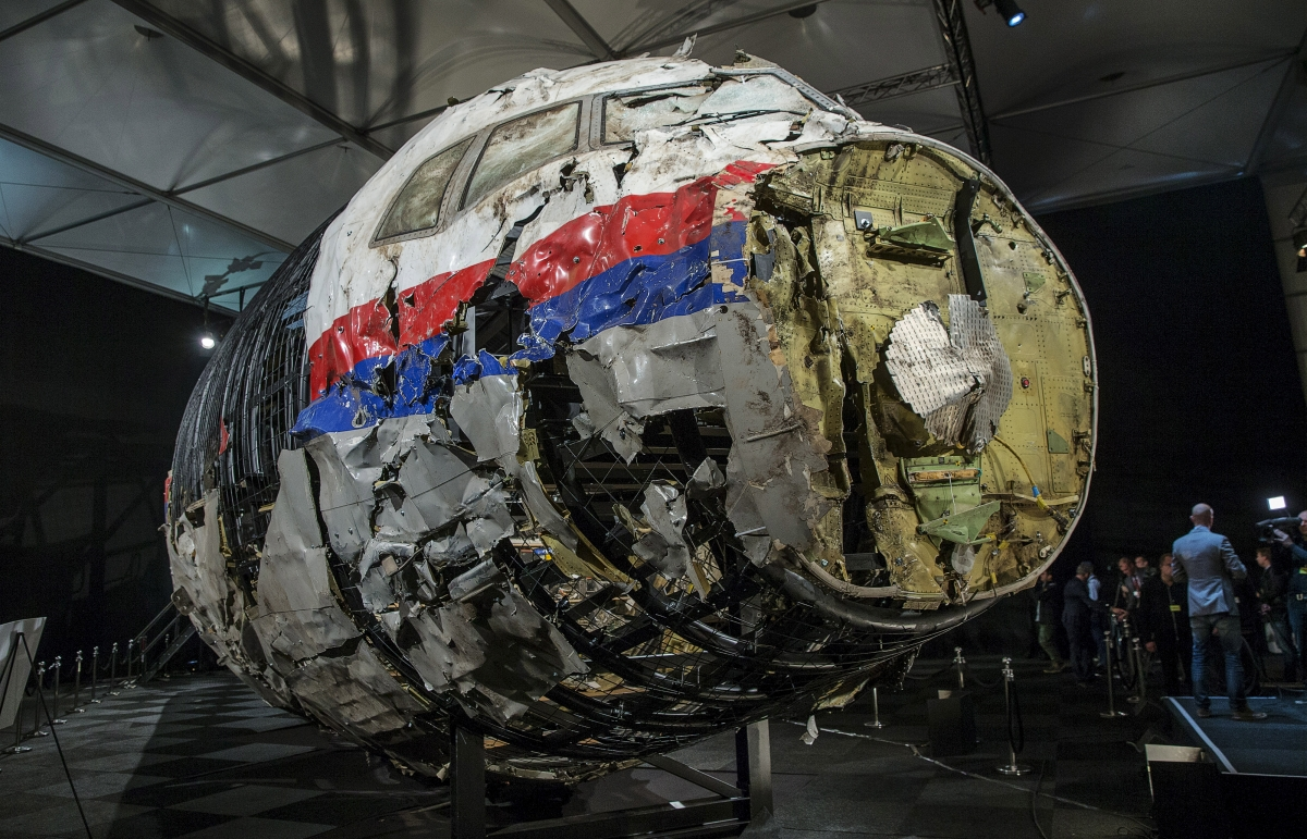The reconstructed wreckage of the MH17