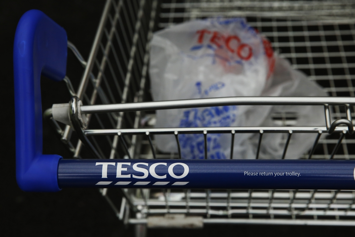Tesco shopping trolley and plastic bag