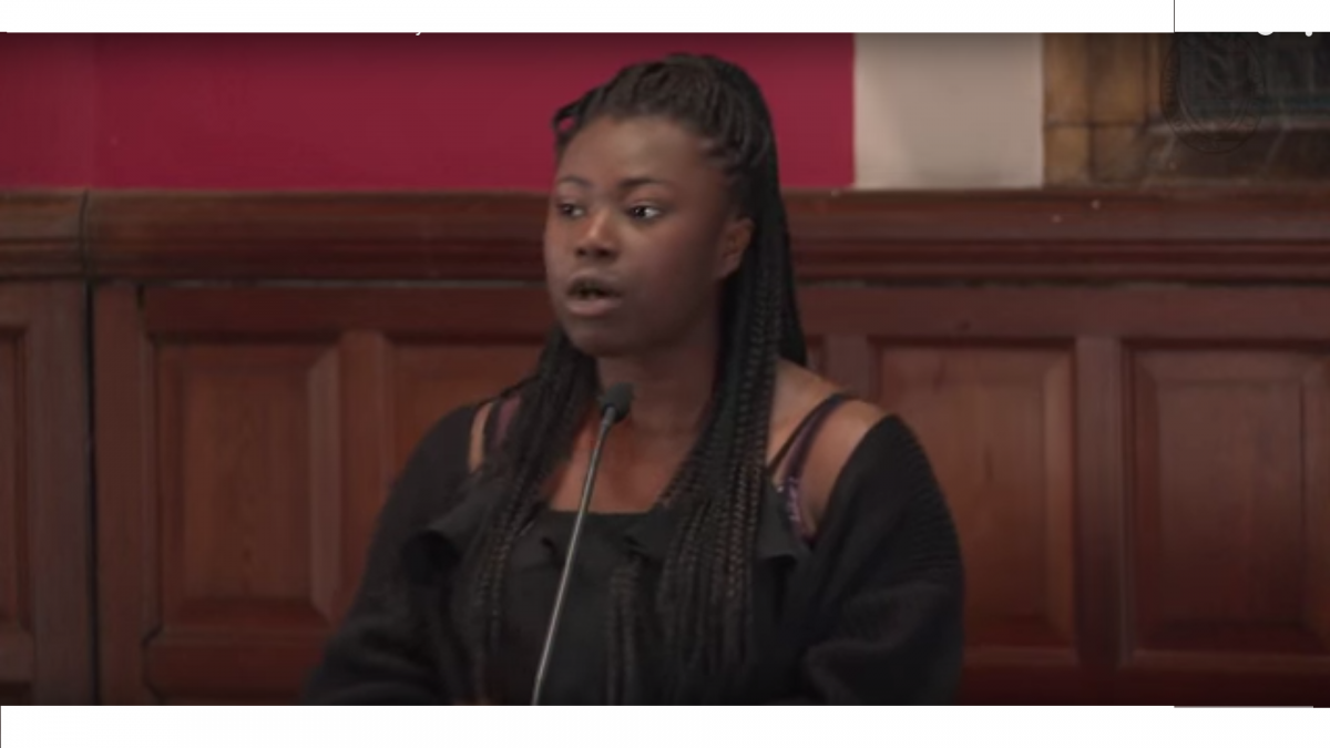 Annie Teriba speaks at the Oxford Union