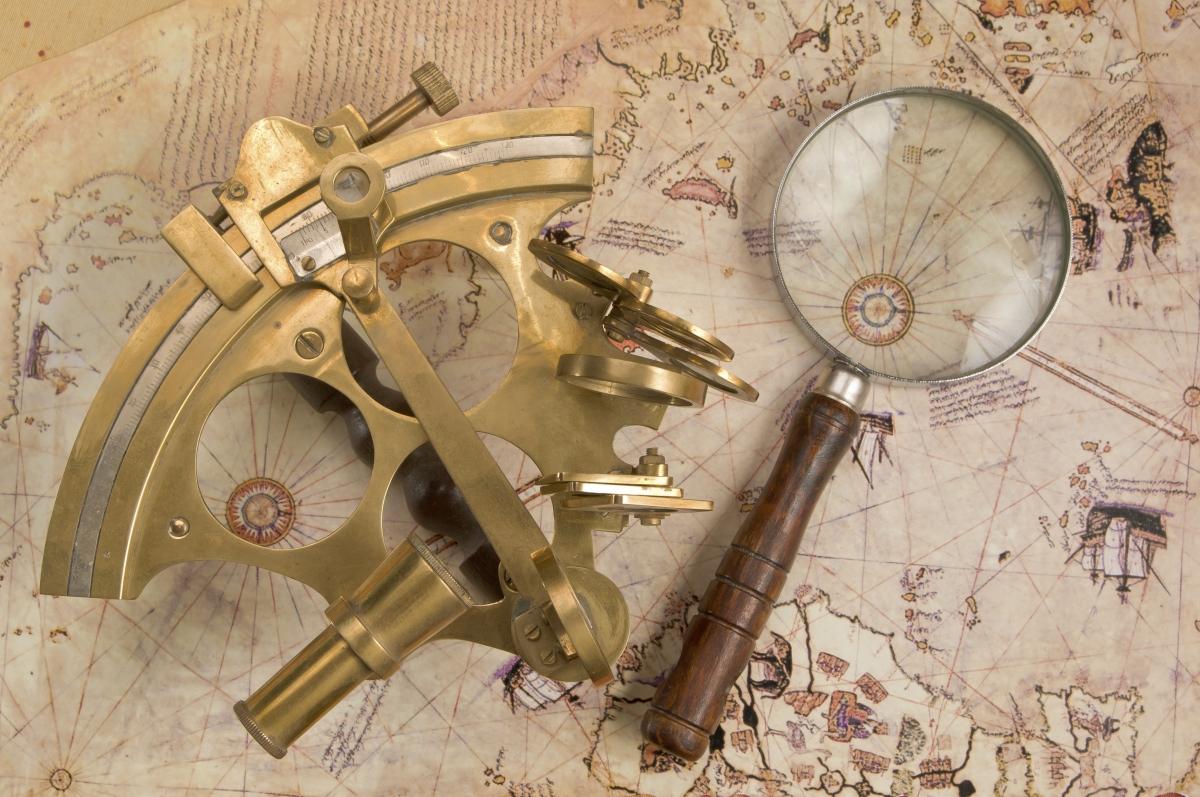 Antique brass sextant