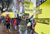 Protesters demand Raif Barawi\'s release