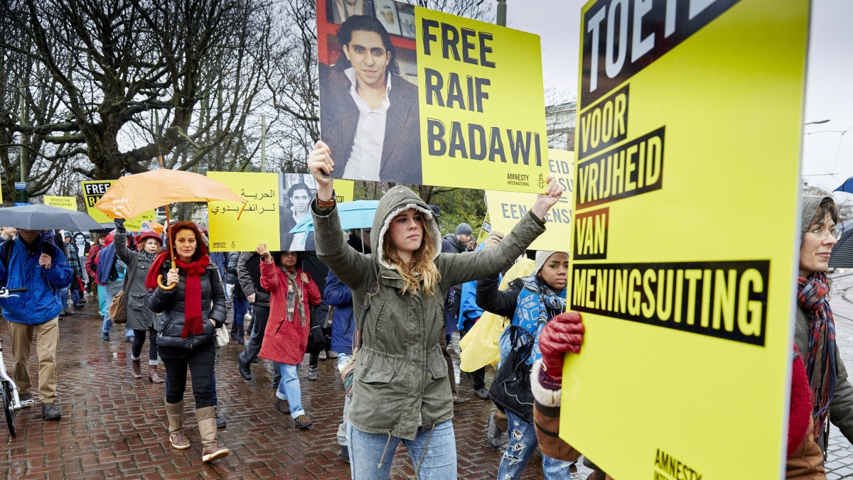 Protesters demand Raif Barawi's release