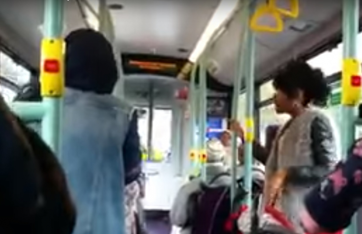Isis bitches bus rant screengrab