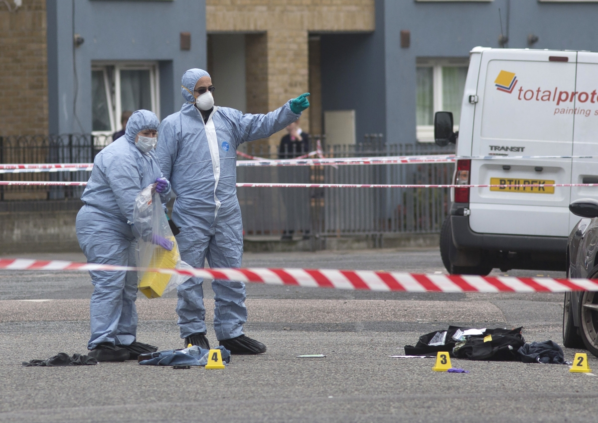 Forensic investigators at crime scene
