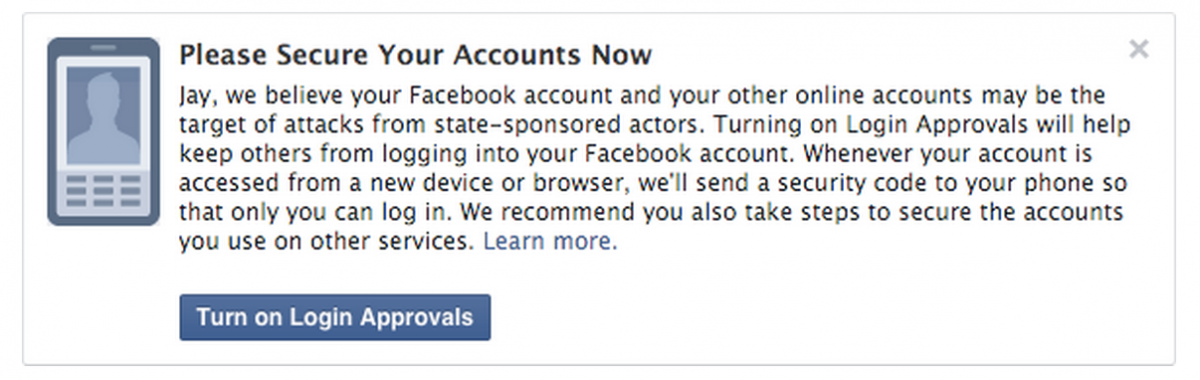 Facebook notification of a state-sponsored attack