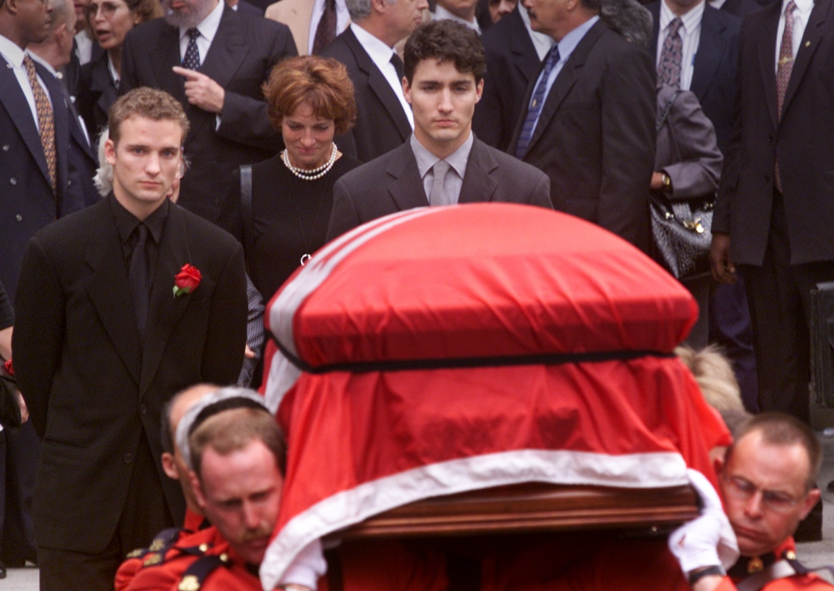 Trudeau follows the casket of his father
