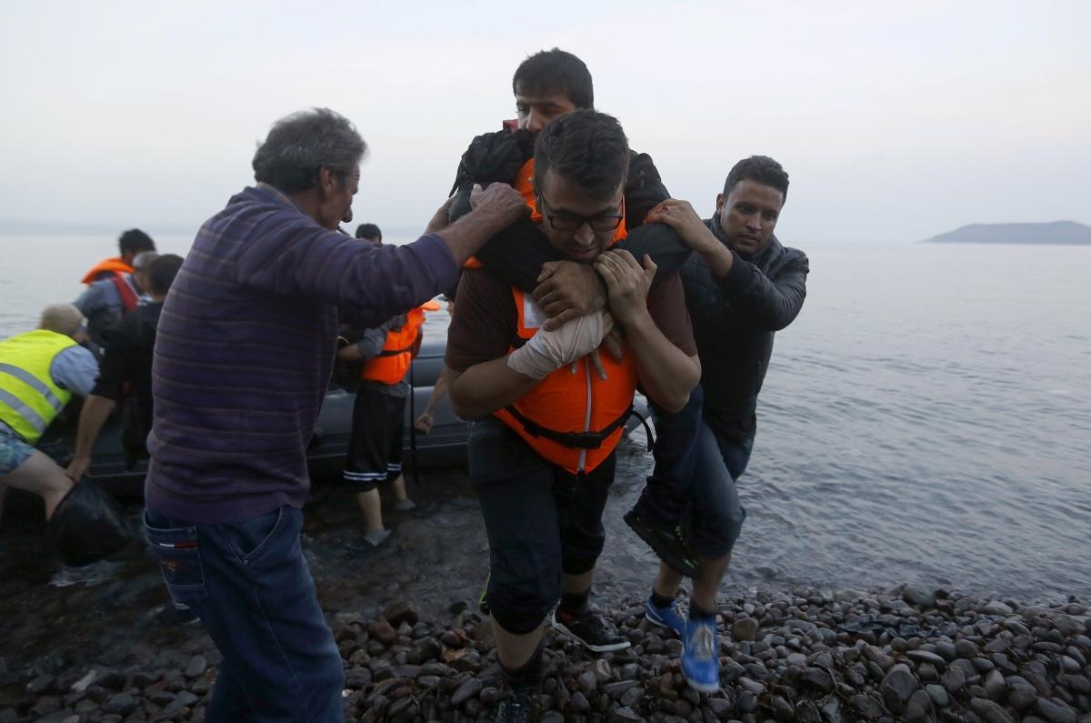 Syrian refugees Lesbos Greece
