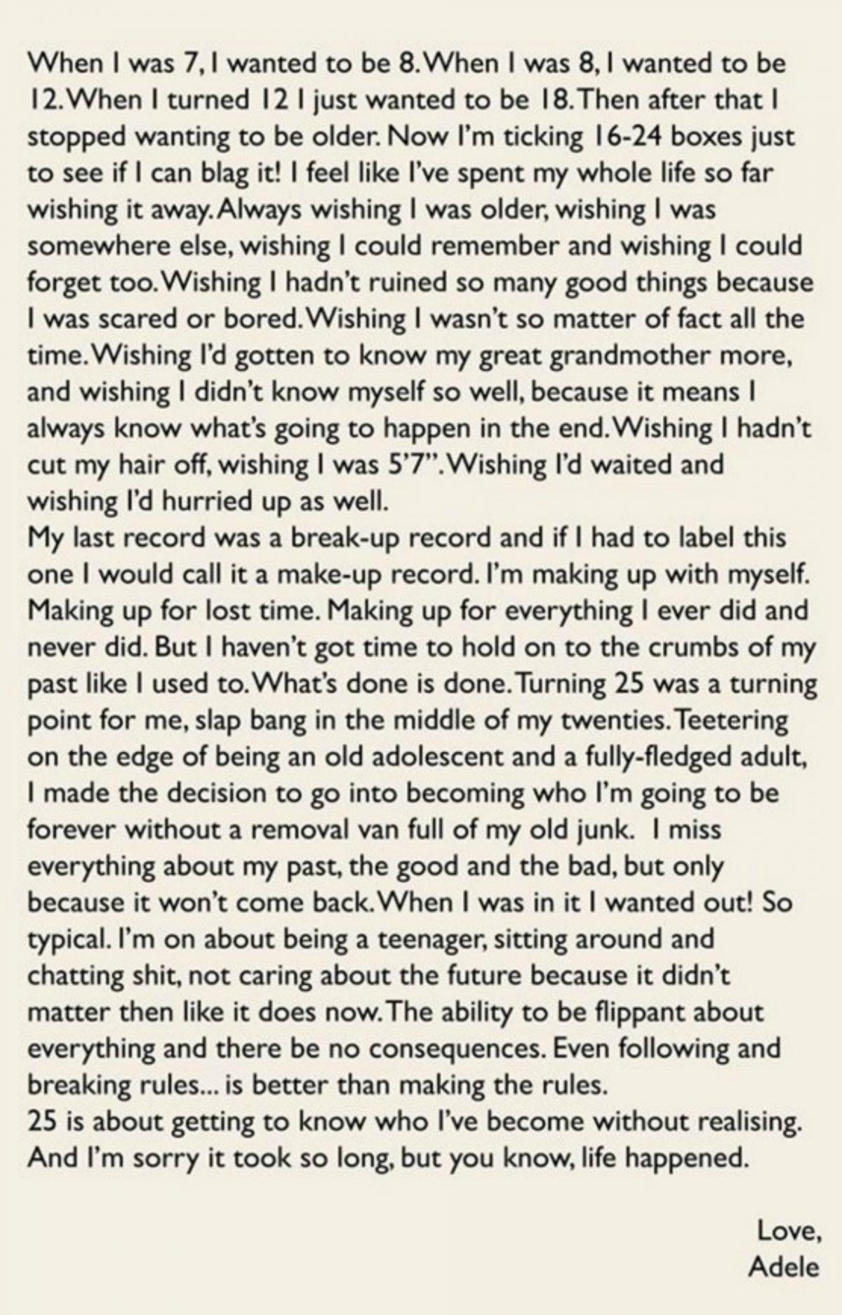 Adele Facebook letter