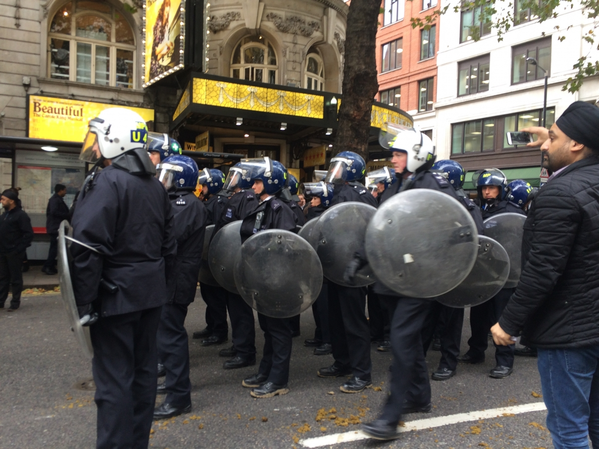 Riot police at Sikh protest in London