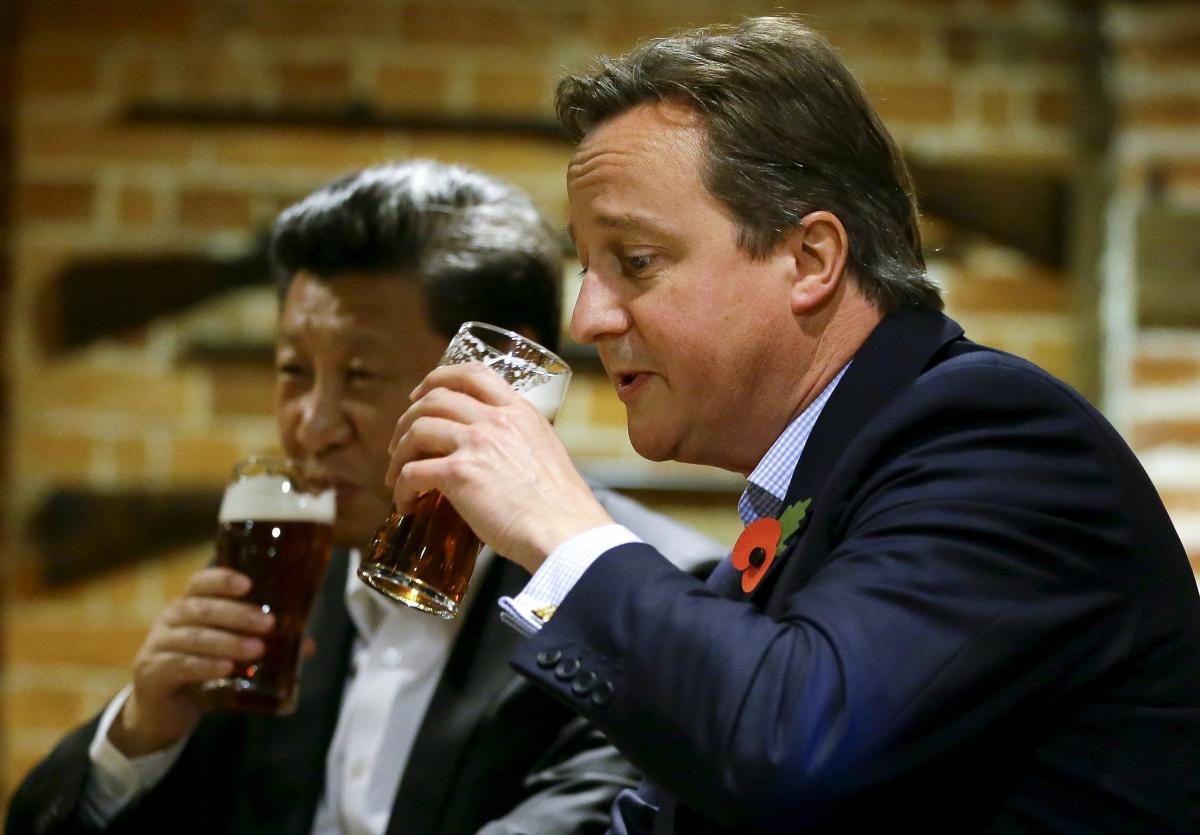 Cameron and Xi enjoying a pint