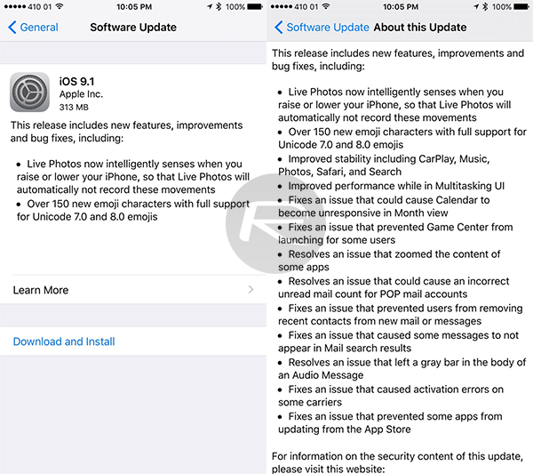 iOS 9.1 release notes