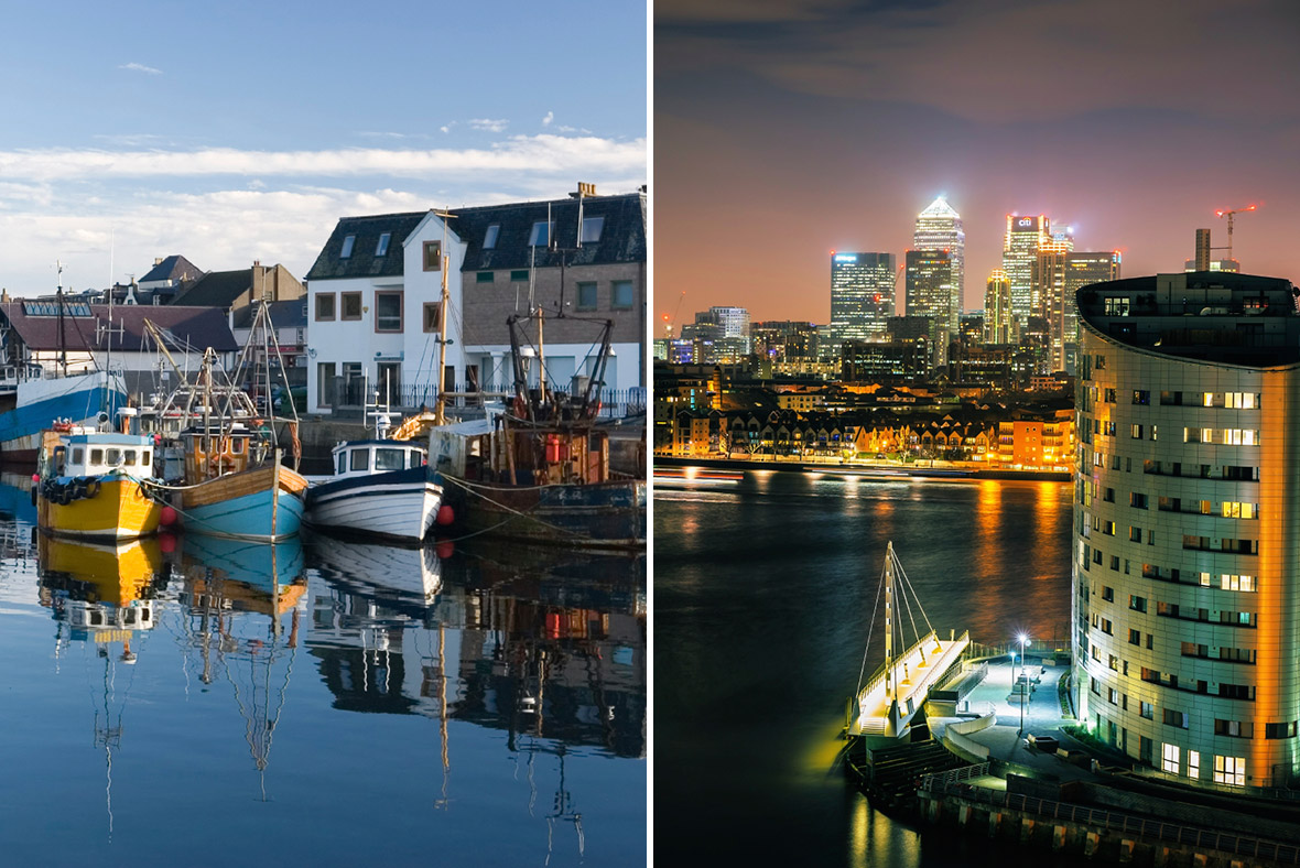 Outer Hebrides (left) and central London (right)