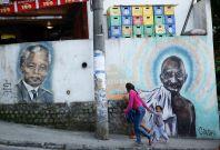 Nelson Mandela and Mahatma Gandhi graffiti