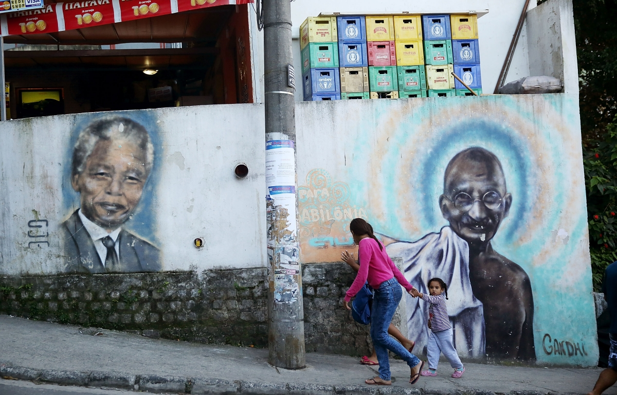 Nelson Mandela and Mahatma Gandhi graffiti