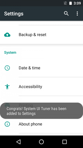 Android Marshmallow System UI Tuner