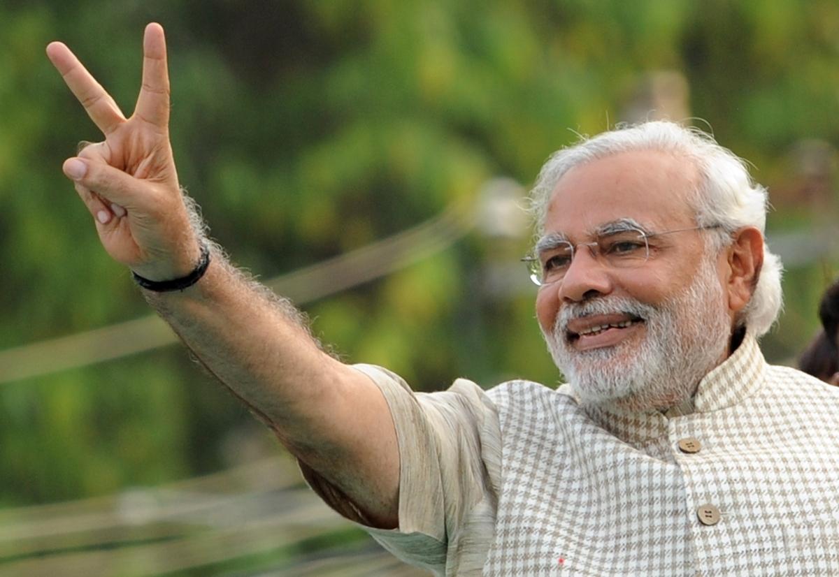 Narendra Modi doing the peace sign