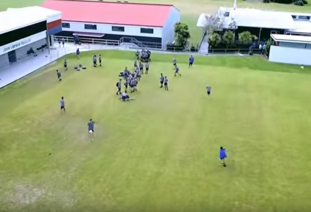 Footballer kicks drone out of air