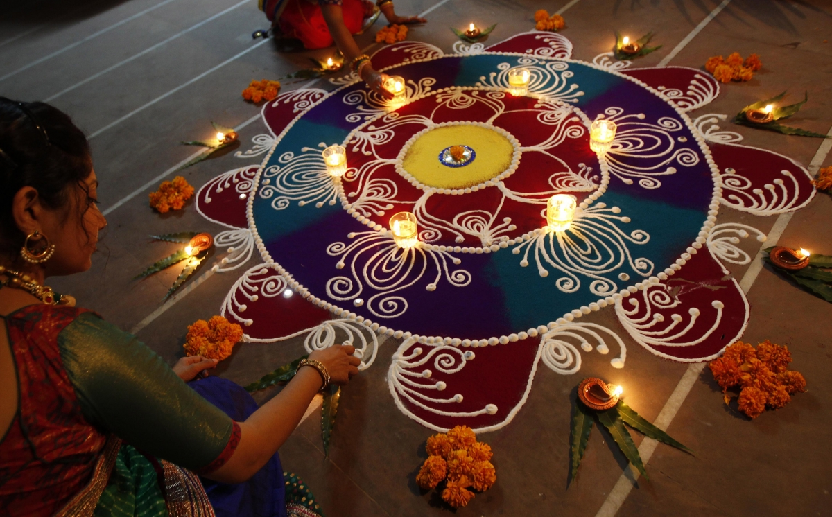Rangoli being designed in India