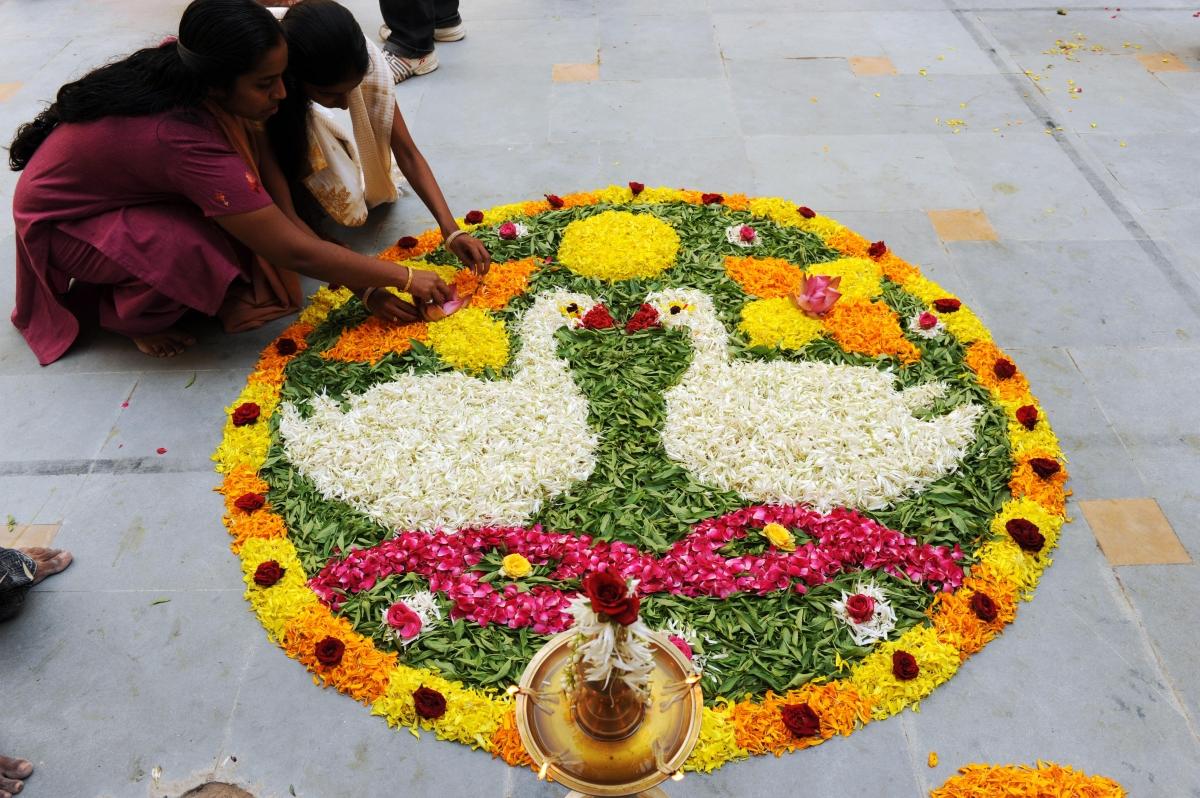 Rangoli using flower petals