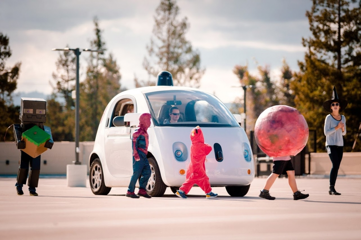 Google car with children on Halloween