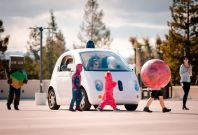 Google car with children on Halloween