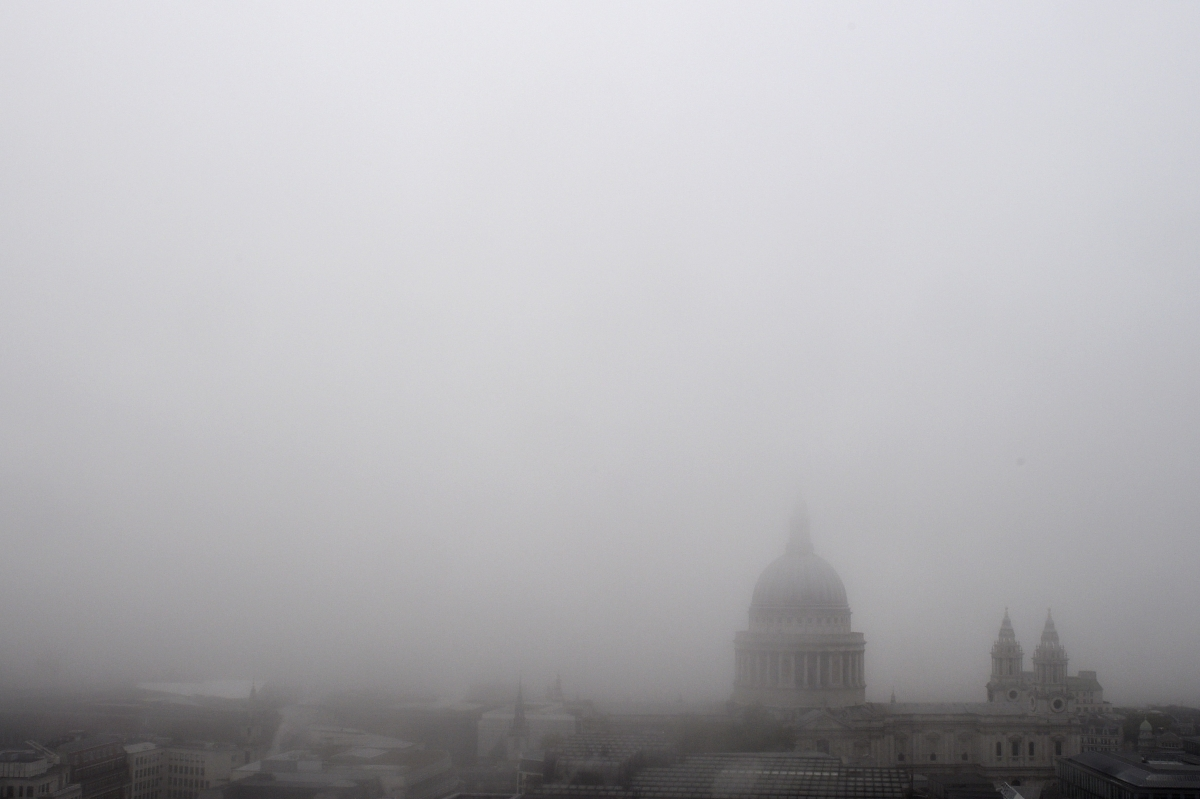 UK Parliament covered in fog