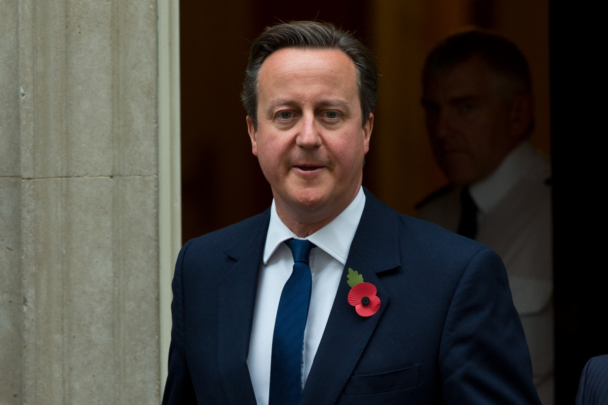 David Cameron wears a poppy