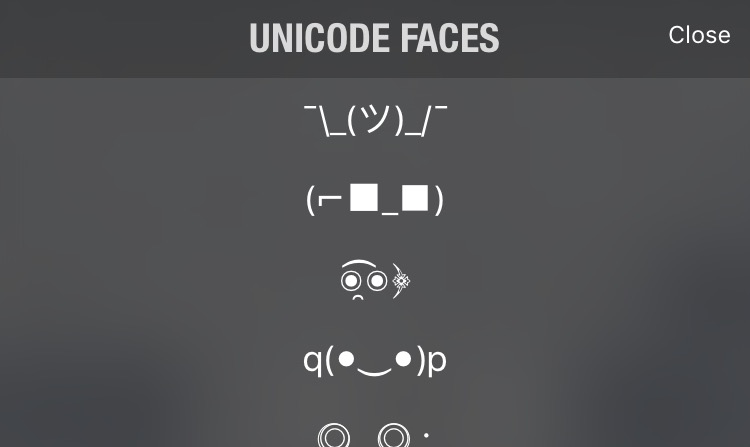 Unicode Faces keyboard
