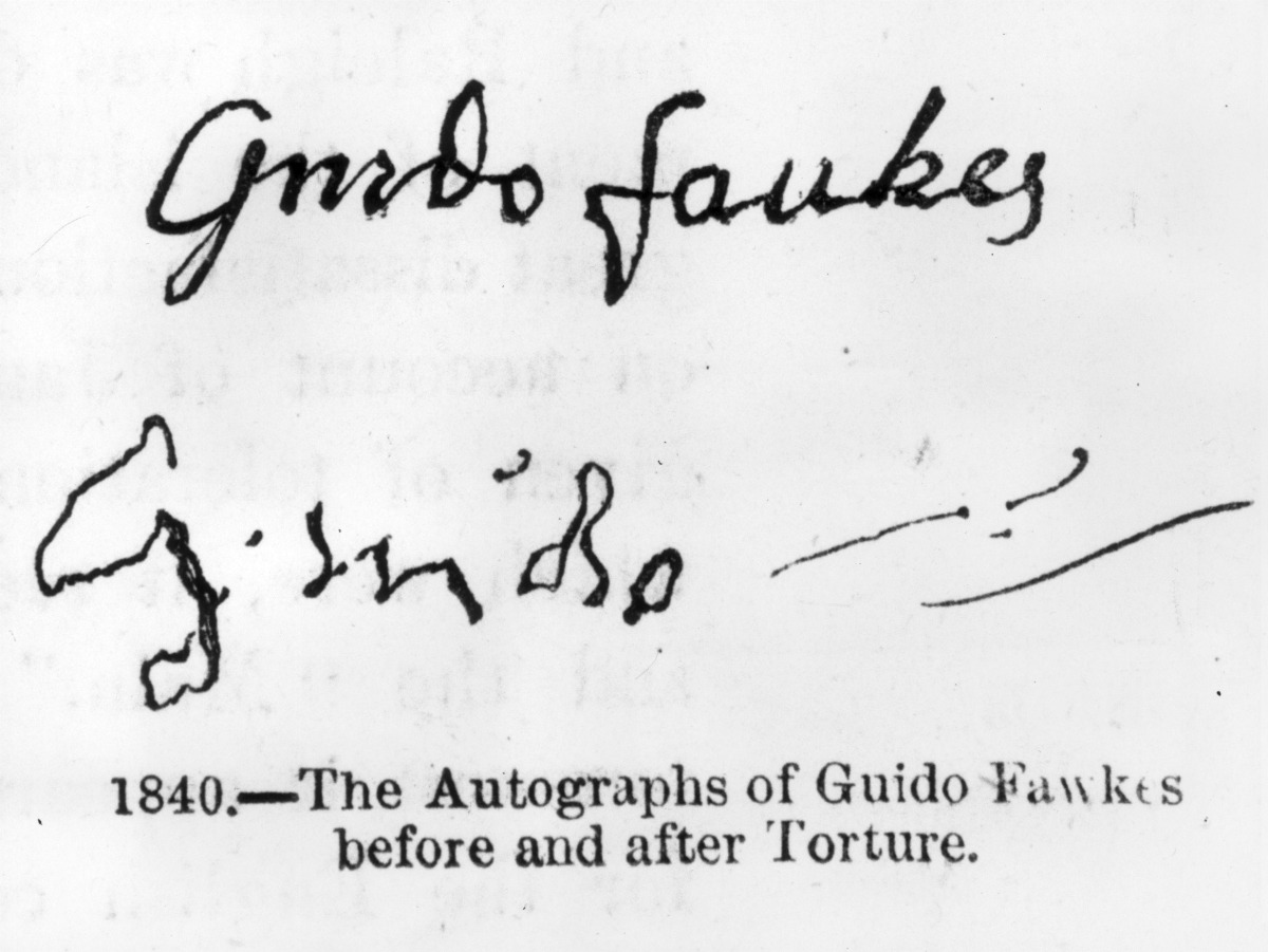 Guy Fawkes signature confession torture