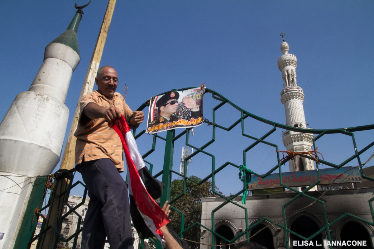 Supporter mounts Sisi image