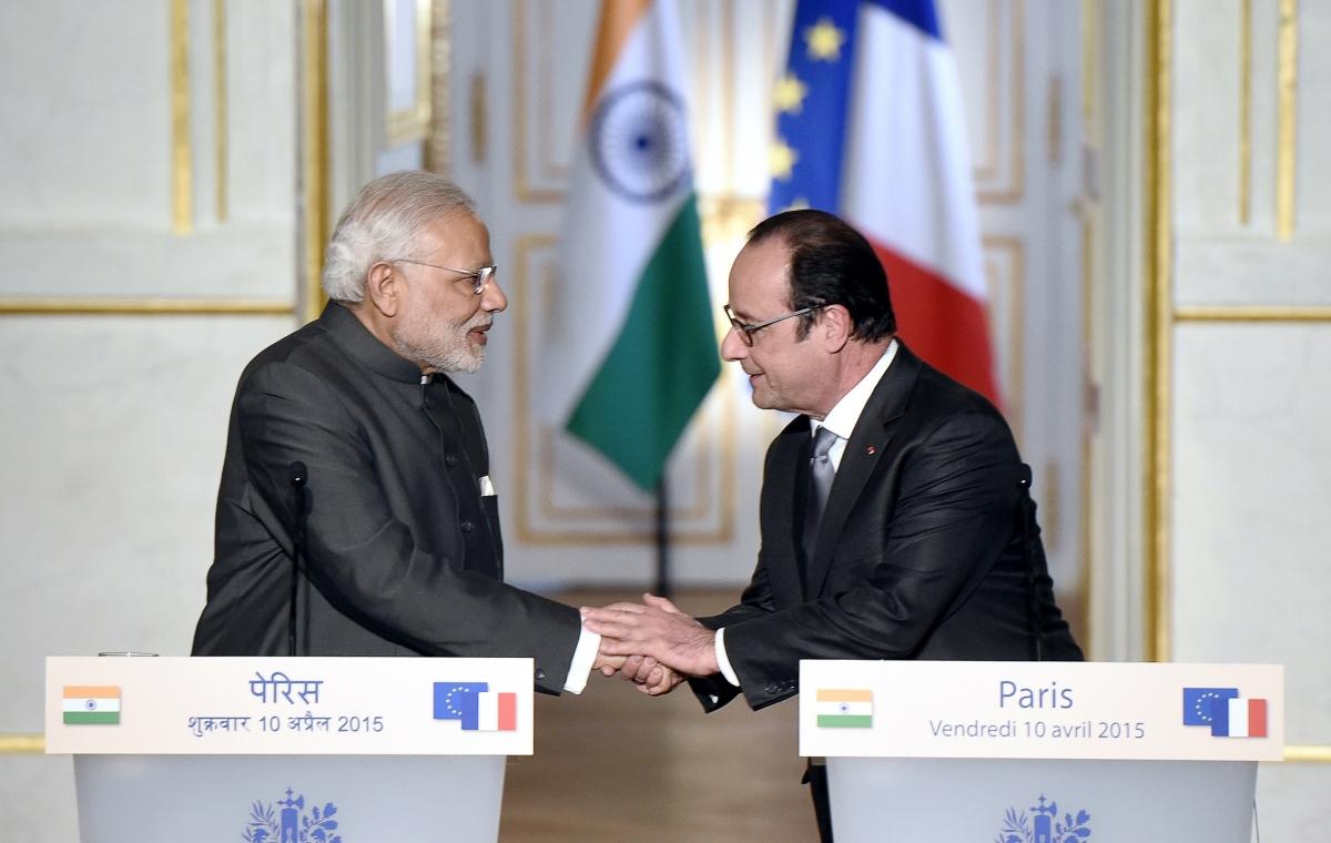 Narendra Modi and Francois Hollande