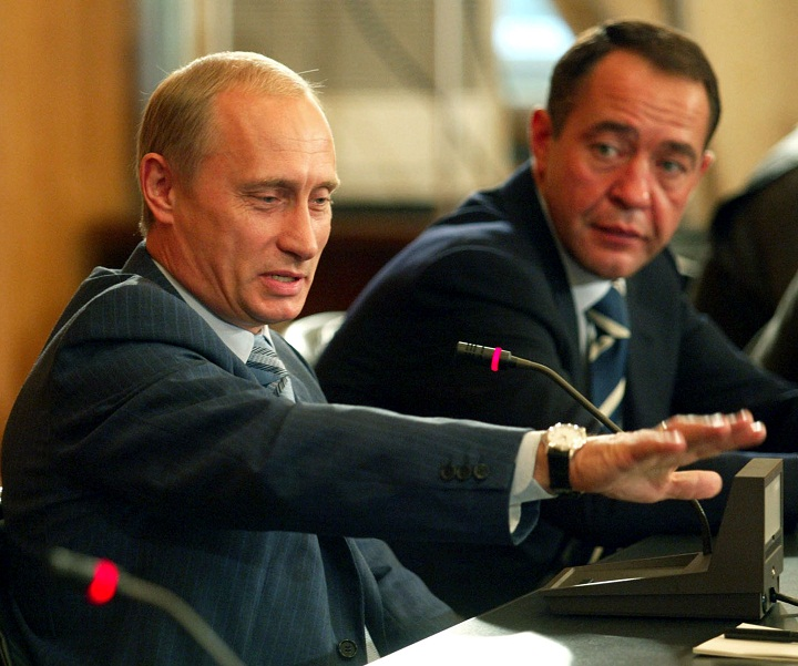 Mikhail Lesin and Vladimir Putin