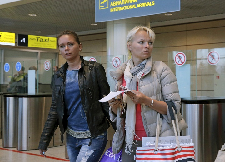 Passengers at the Domodedovo airport in Moscow