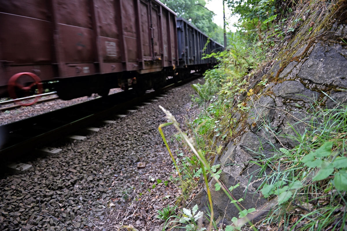 A train passes by the site where a Nazi gold train is believed to be hidden, in the city of Walbrzych, Poland,