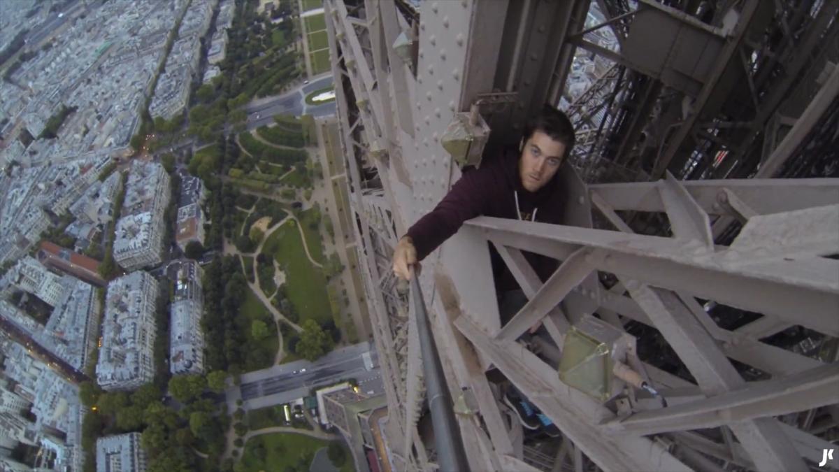 Kingston free-climbs the Eiffel Tower