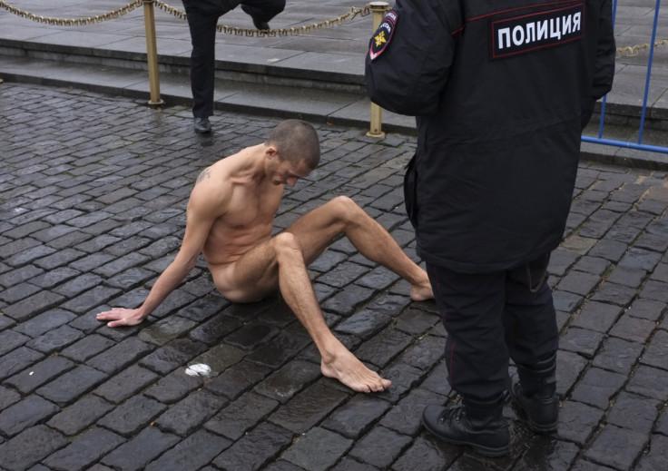 Pyotr Pavlensky nailed himself to the cobblestonesonRussia'